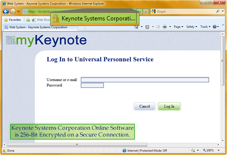 Keynote's Employee Servers are secured by a 256-bit technology.